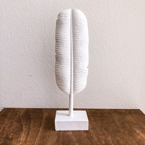 White Palm Leaf Feather Boho sculpture
